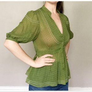 Anthro Maeve Puff Sleeve Blouse Green 4